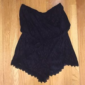 Free People Black Lace Strapless Romper